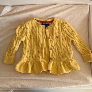 Ralph Lauren polo ruffle cardigan sweater